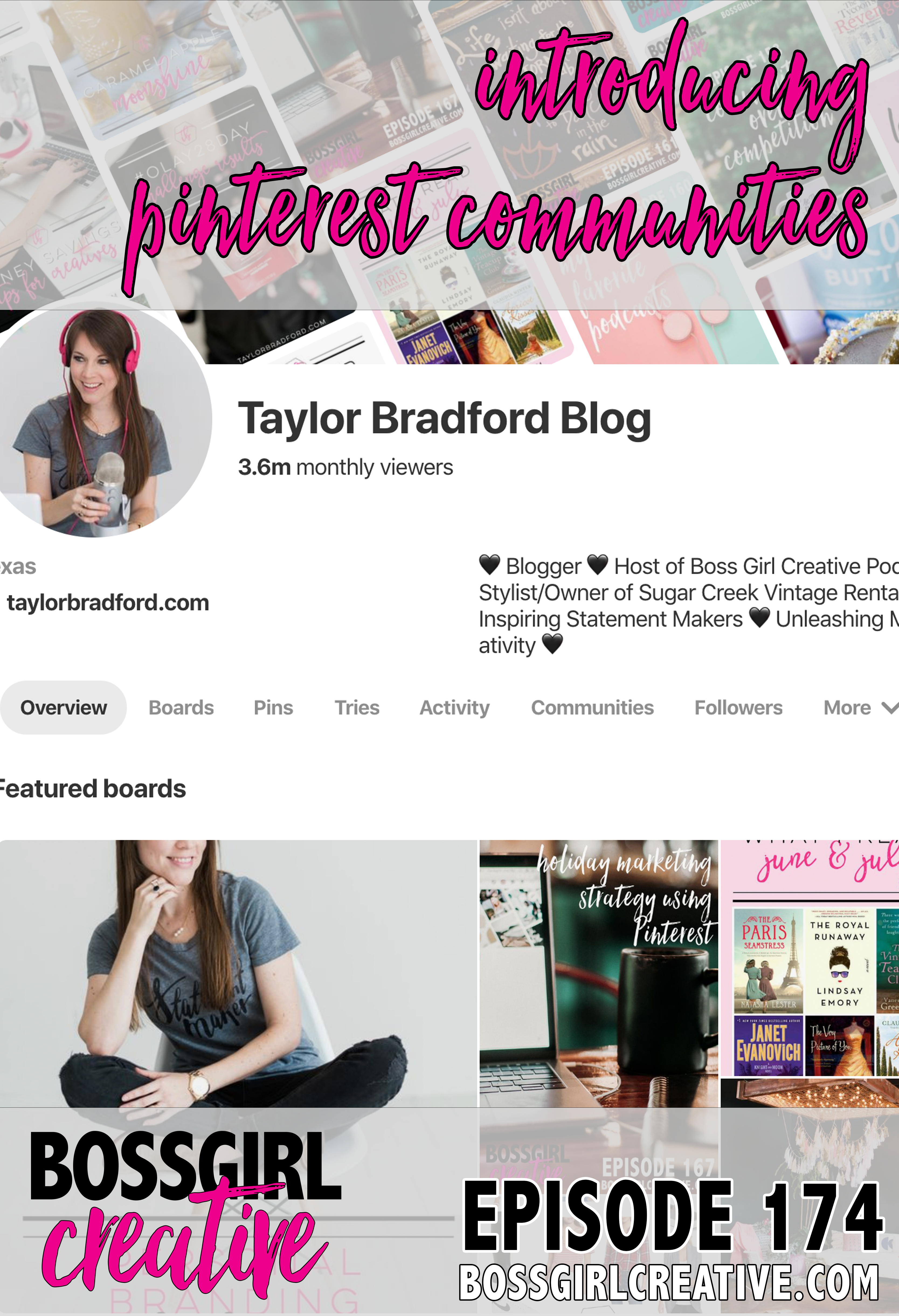 Have you heard about Pinterest rolling out their own Communities?? I'm talking all about them on Episode 174 of the Boss Girl Creative podcast!